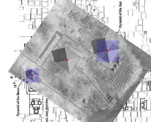 Giza Pyramids superimposed on the layout of the Teotihuacán pyramids.