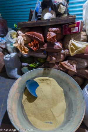 Mole spices mill at the market
